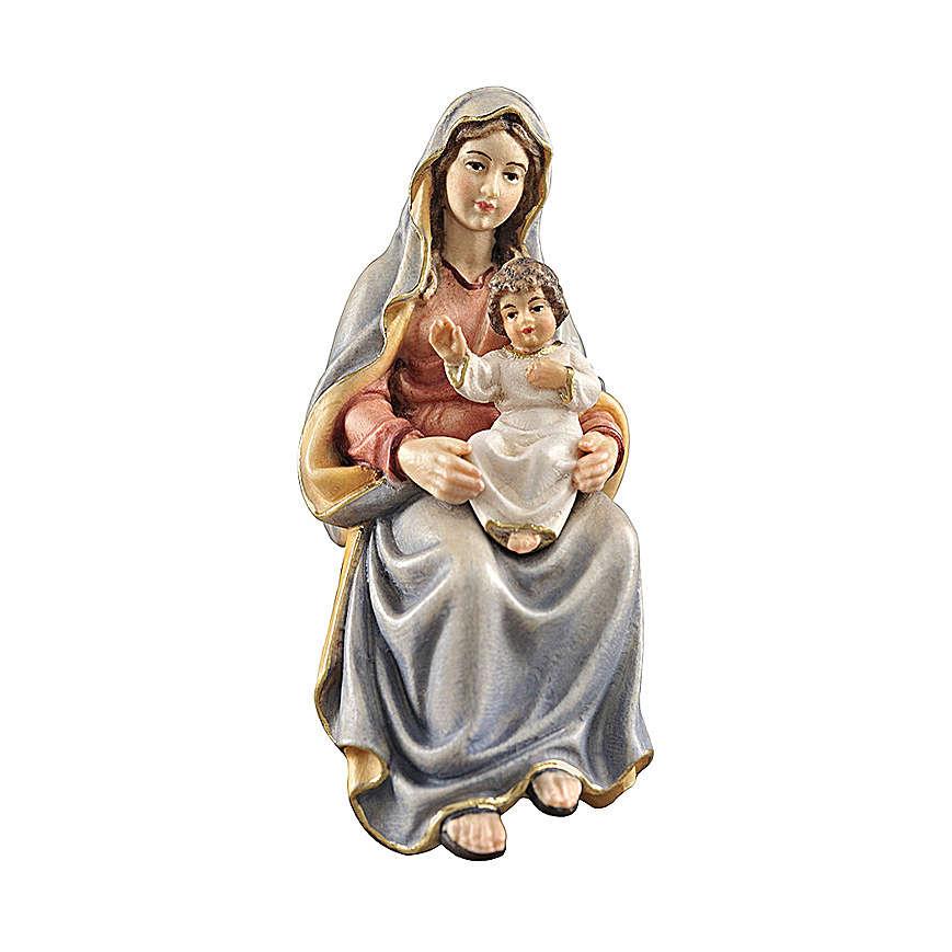 S. Maria con bimbo legno dipinto presepe Kostner 12 cm 4