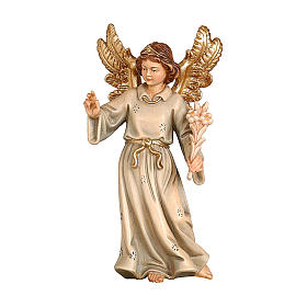 Nativity scene from Val Gardena: Angel with flowers in painted wood, Kostner Nativity scene 12 cm