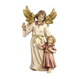 Ángel de la guarda con niña madera pintada belén Kostner 12 cm s1
