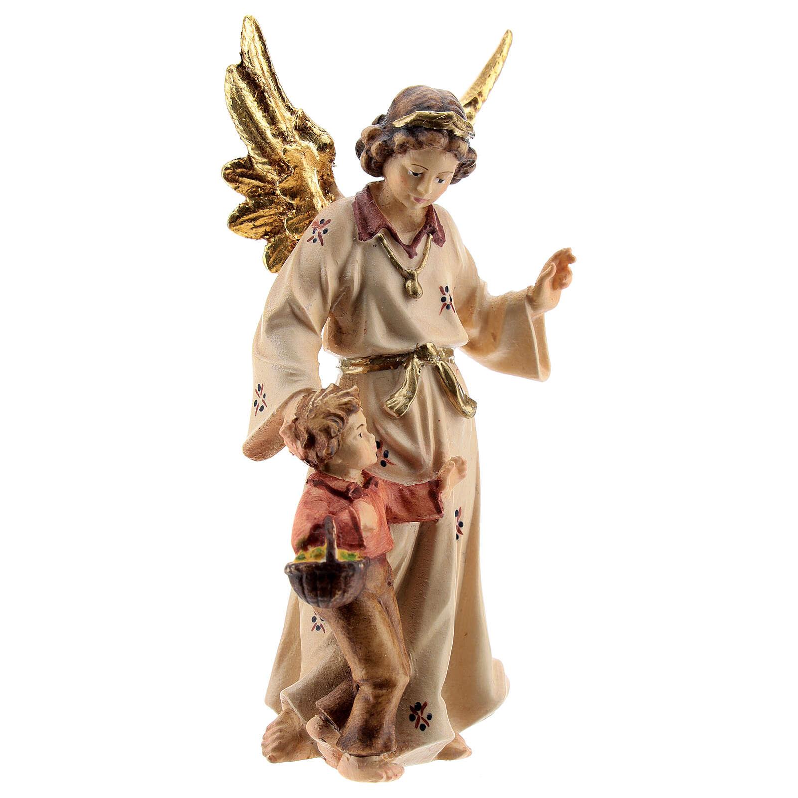 Ángel de la guarda madera pintada Kostner belén 9,5 cm 4