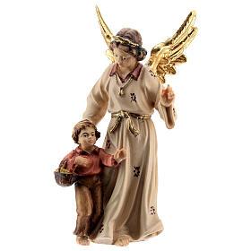 Ángel de la guarda madera pintada Kostner belén 9,5 cm s1