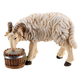 Belén Val Gardena: Carnero con cubo madera pintada Kostner belén 9,5 cm
