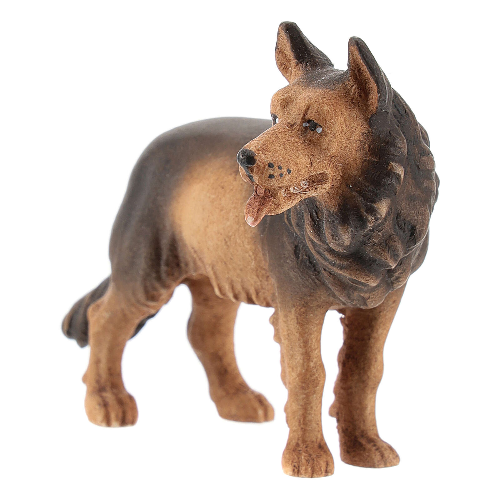 Perro pastor madera pintada belén Kostner 12 cm 4