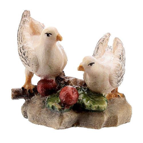 Couple colombes bois peint crèche Kostner 9,5 cm
