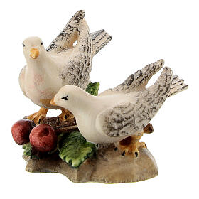 Dove couple in painted wood, Kostner Nativity scene 12 cm s2