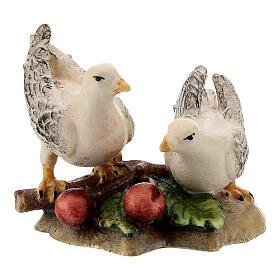 Couple colombes bois peint crèche Kostner 12 cm s1
