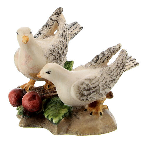 Couple colombes bois peint crèche Kostner 12 cm 2