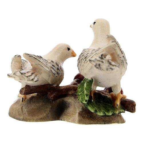 Couple colombes bois peint crèche Kostner 12 cm 3