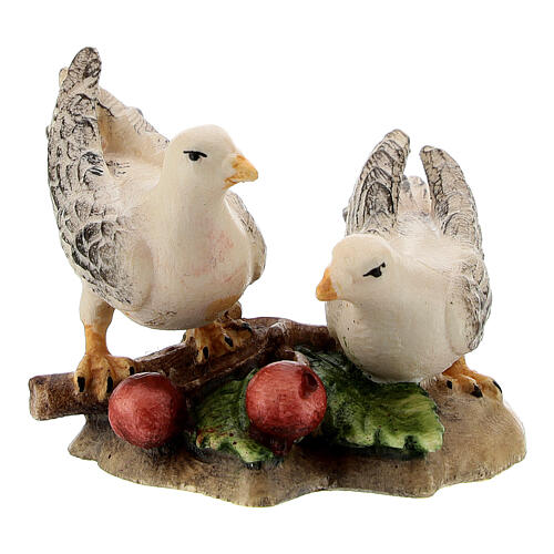 Coppia colombe legno dipinto presepe Kostner 12 cm 1