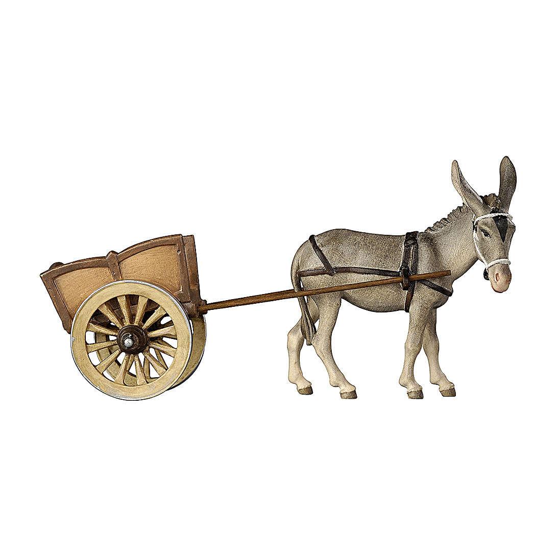 Âne avec charrette bois peint crèche Kostner 12 cm 4