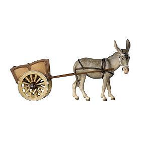 Âne avec charrette bois peint crèche Kostner 12 cm s1