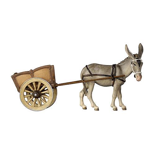 Âne avec charrette bois peint crèche Kostner 12 cm 1