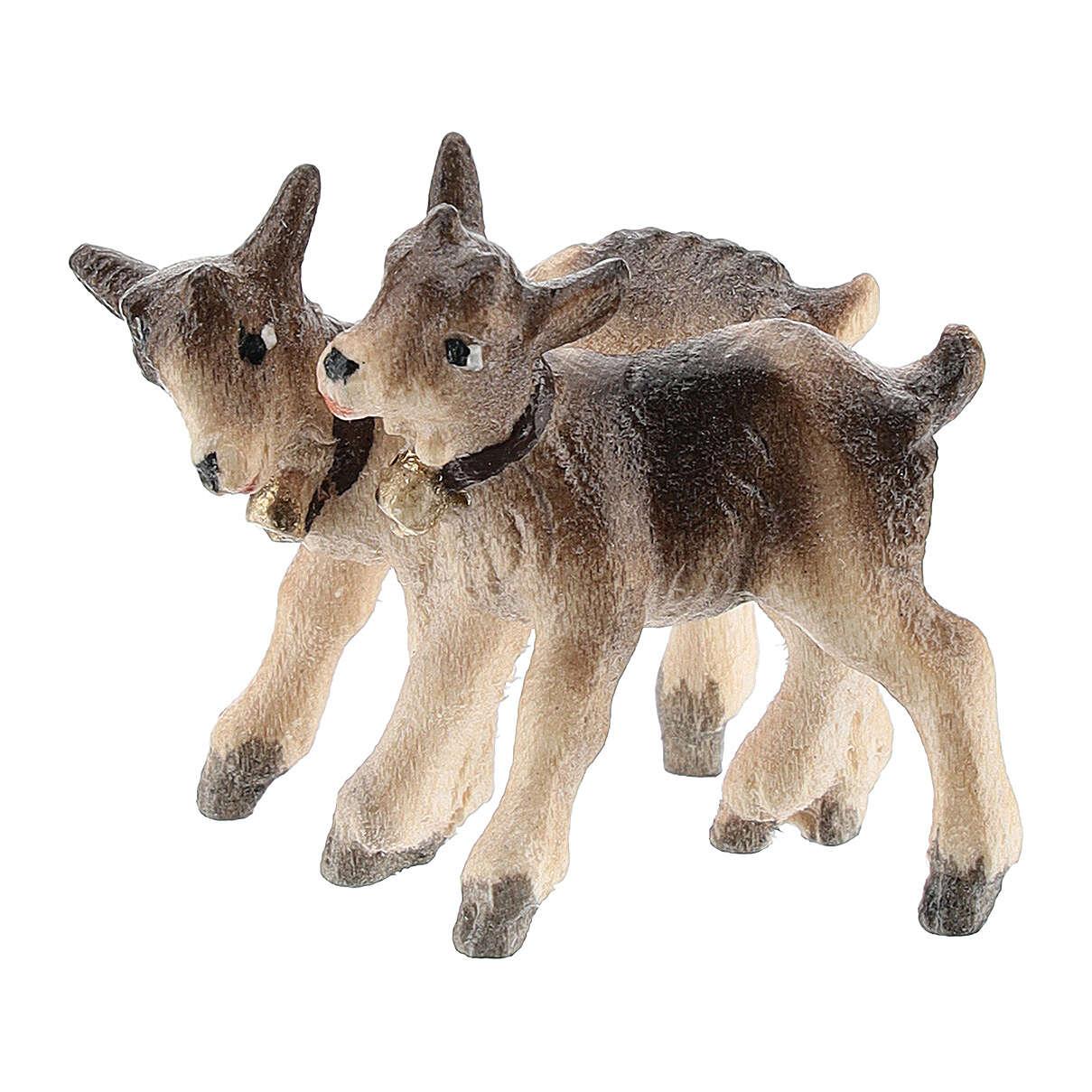 Goat kids in painted wood, Kostner Nativity scene 12 cm 4