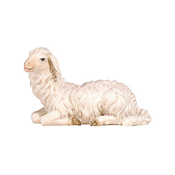 Lying sheep with head turned left in painted wood, Kostner Nativity scene 9.5 cm 4