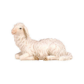 Lying sheep with head turned left in painted wood, Kostner Nativity scene 9.5 cm s1