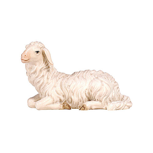 Lying sheep with head turned left in painted wood, Kostner Nativity scene 9.5 cm 1
