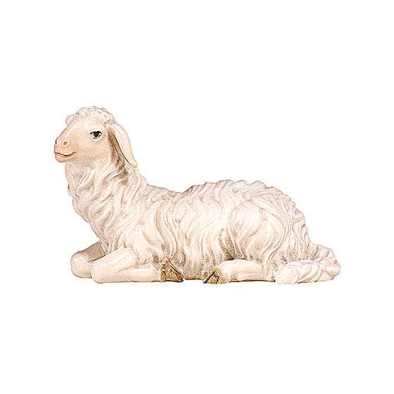 Mouton couché tête à gauche bois peint crèche Kostner 9,5 cm 4