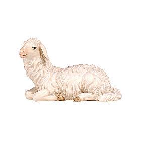 Mouton couché tête à gauche bois peint crèche Kostner 9,5 cm s1