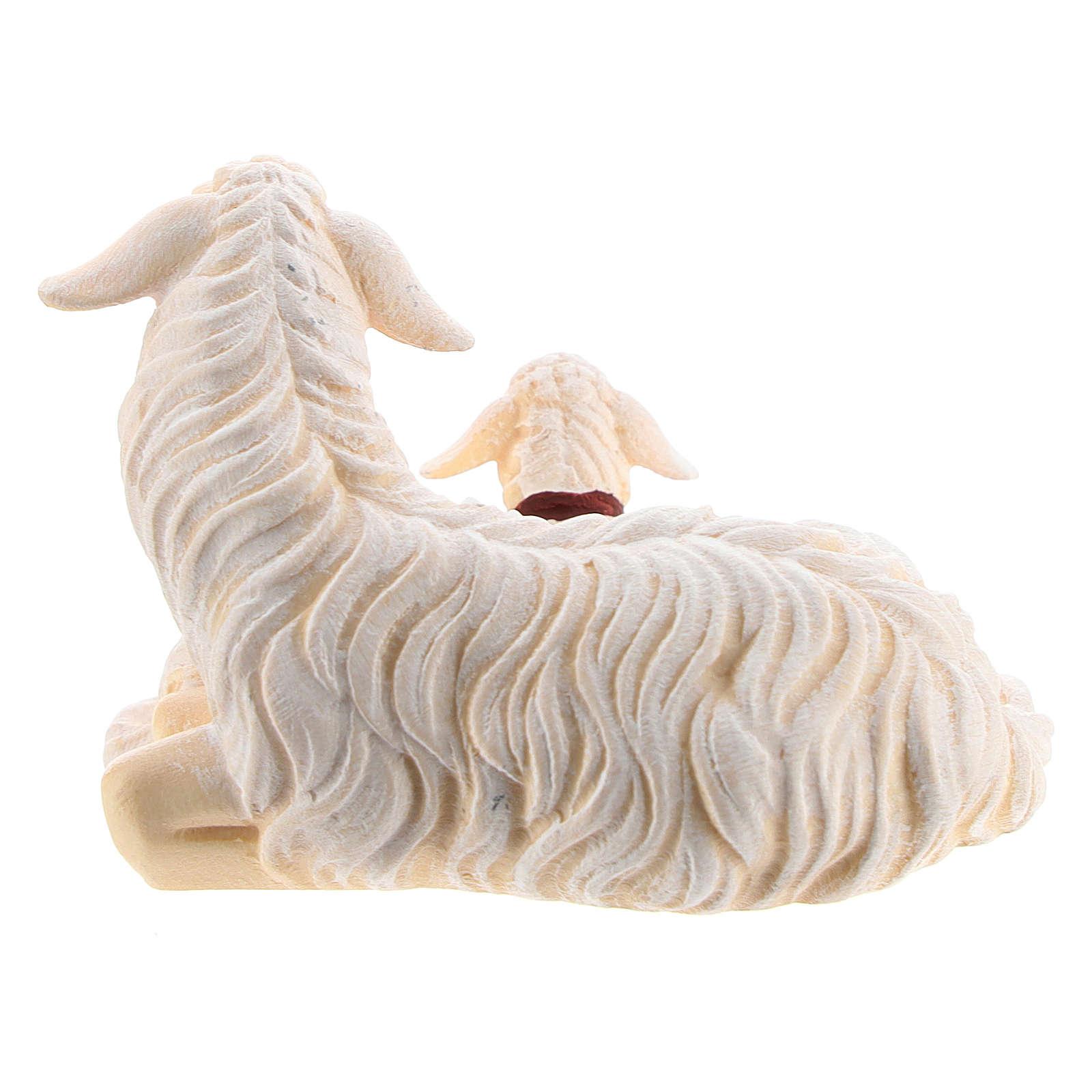 Pecora sdraiata con agnello legno dipinto presepe Kostner 12 cm 4