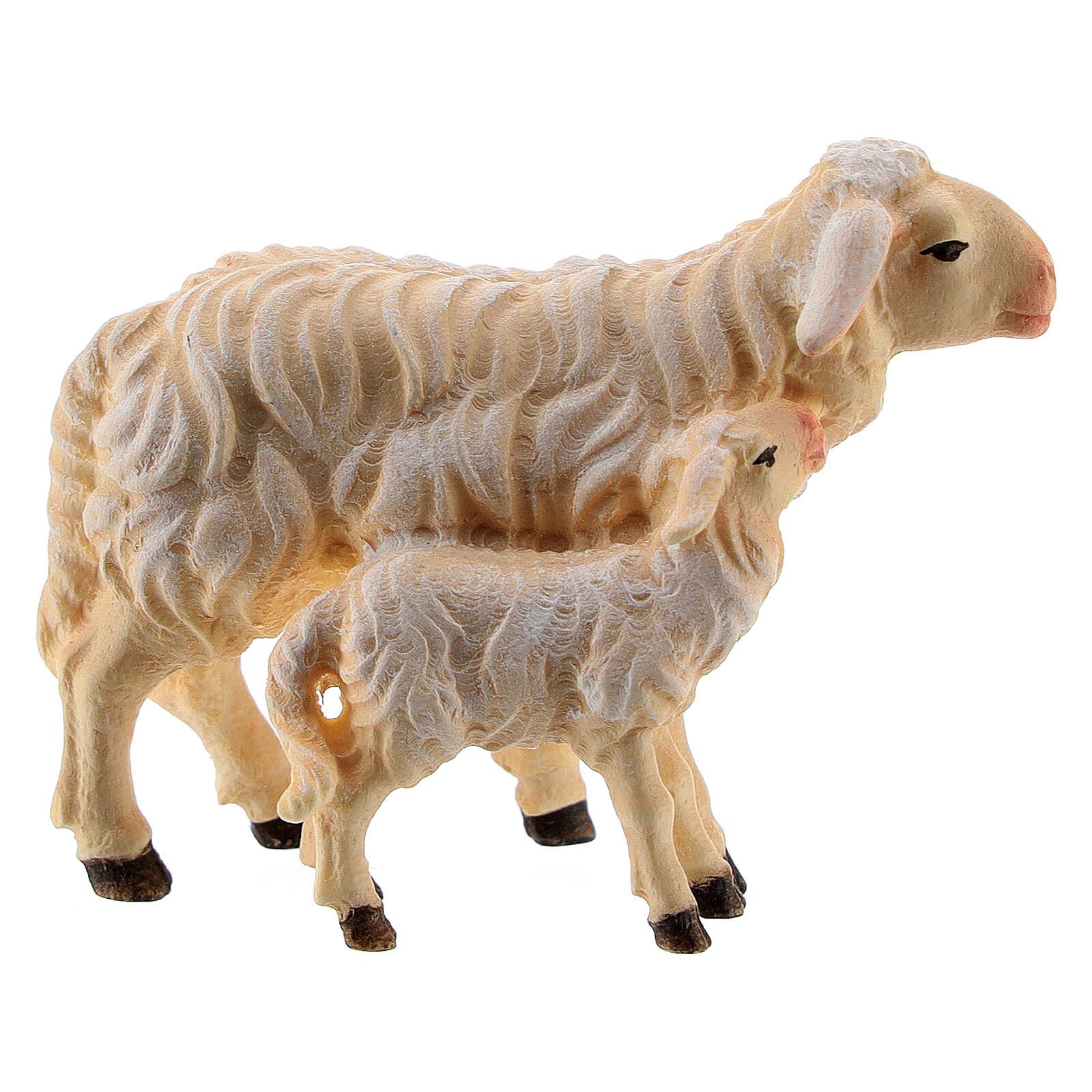 Mouton et agneau debout bois peint Kostner crèche 9,5 cm 4