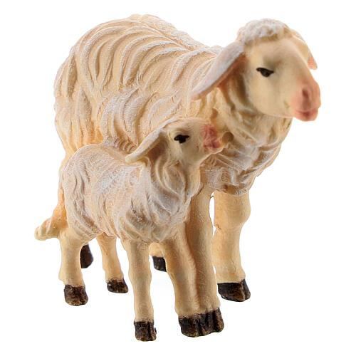 Mouton et agneau debout bois peint Kostner crèche 9,5 cm 2