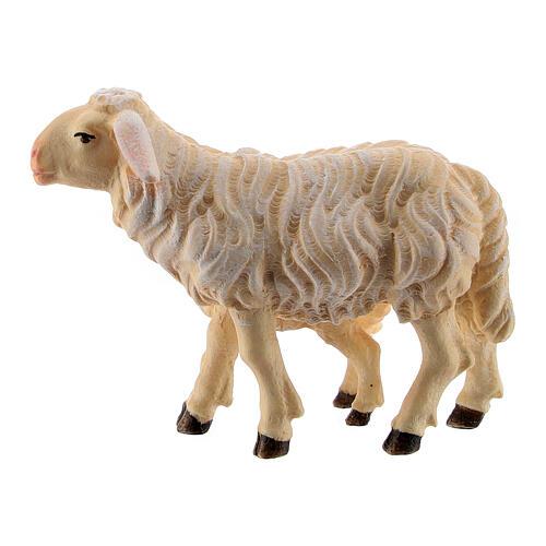 Mouton et agneau debout bois peint Kostner crèche 9,5 cm 3
