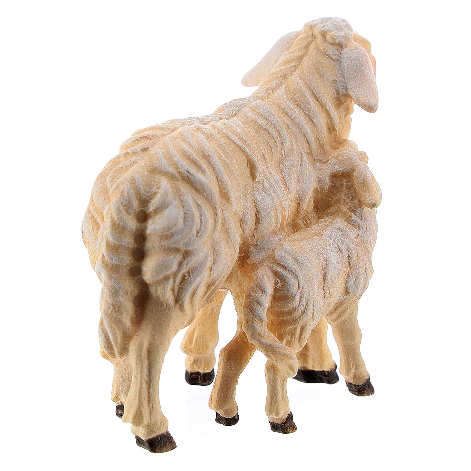 Pecora e agnello in piedi legno dipinto Kostner presepe 9,5 cm 4