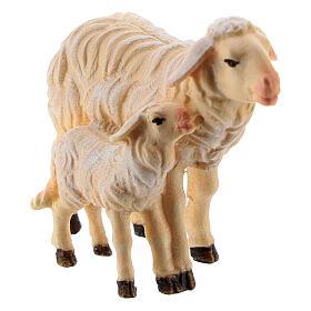 Pecora e agnello in piedi legno dipinto Kostner presepe 9,5 cm s2