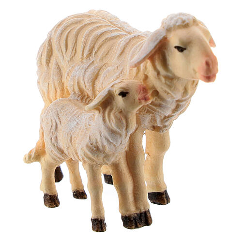 Kostner Nativity Scene 9.5 cm, standing sheep and lamb, in painted wood 2