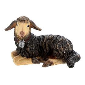 Belén Val Gardena: Cordero negro tumbado madera pintada madera pintada belén Kostner 12 cm