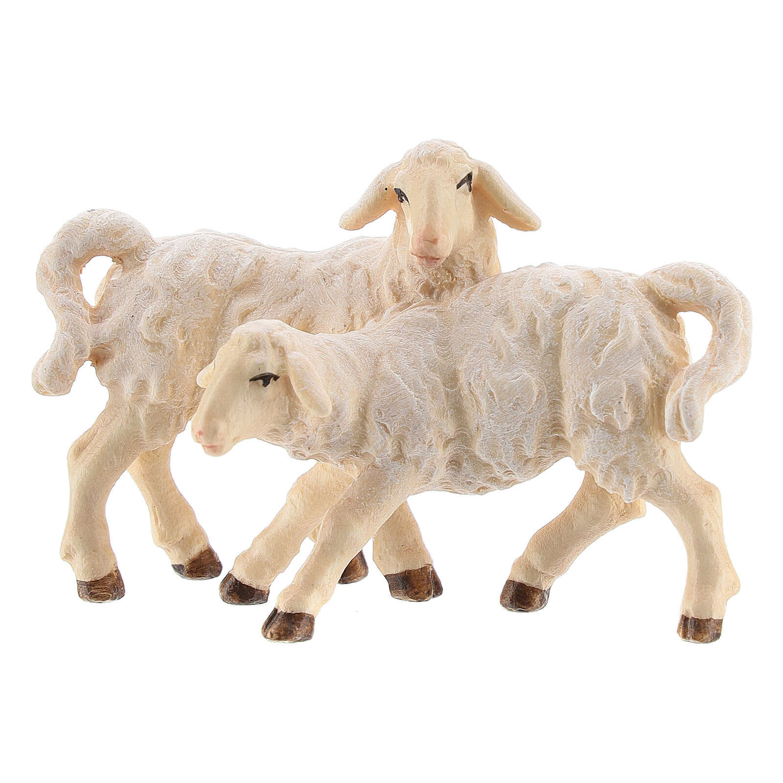 Groupe d'agneaux bois peint crèche Kostner 12 cm 4