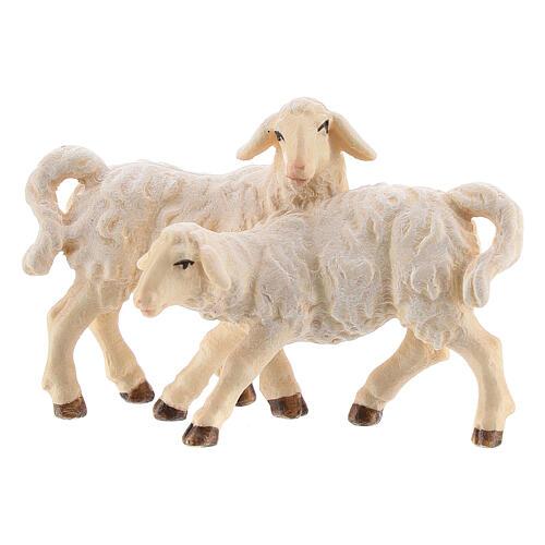 Groupe d'agneaux bois peint crèche Kostner 12 cm 1
