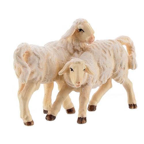 Groupe d'agneaux bois peint crèche Kostner 12 cm 2