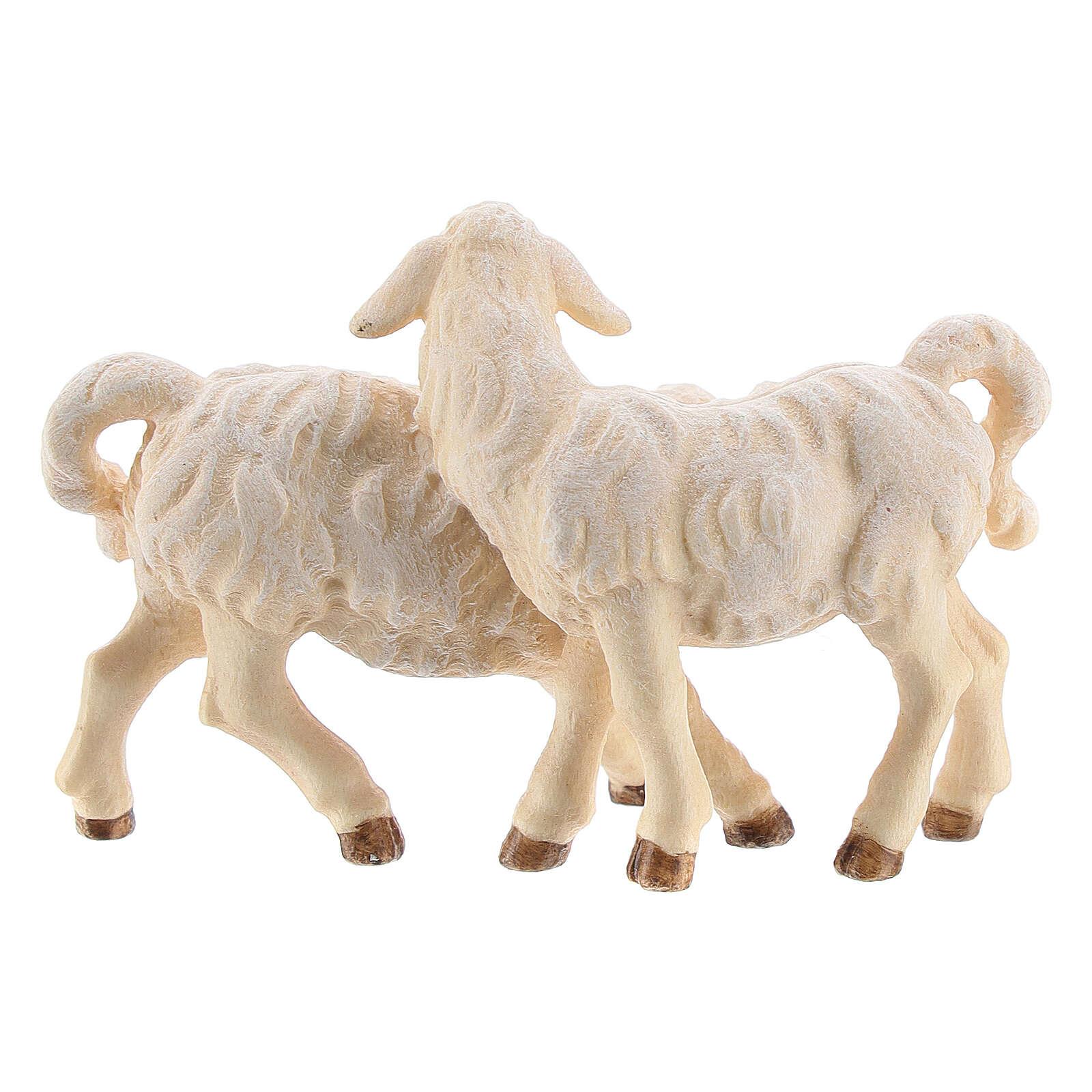 Gruppo di agnelli legno dipinto presepe Kostner 12 cm 4