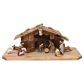 Belén Val Gardena: Cabaña Noche Sagrada con set 13 piezas madera pintada Kostner belén 9,5 cm
