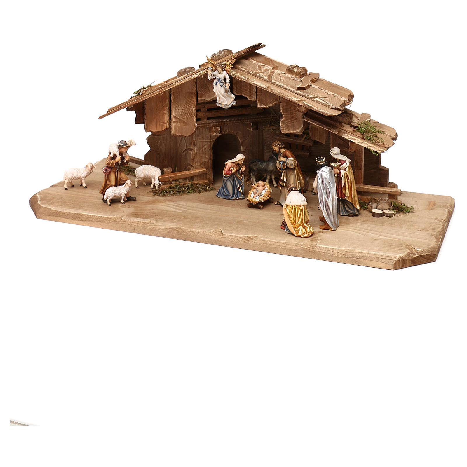 Cabane Sainte Nuit avec set 13 pcs bois peint crèche Kostner 9,5 cm 4