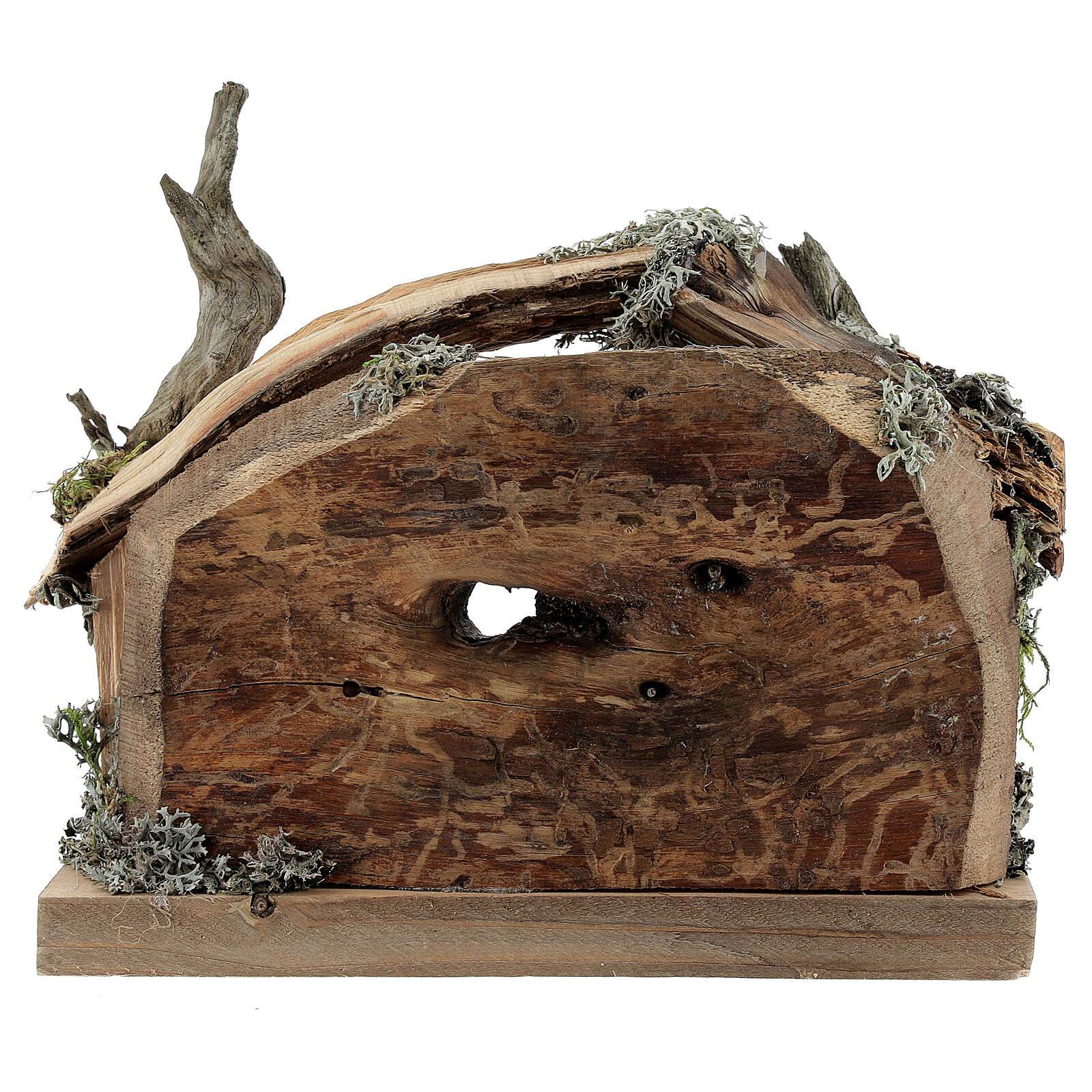 Hut in bark with set of 6 figurines in painted wood for Kostner Nativity Scene 9.5 cm 4
