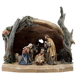 Hut in bark with set of 6 figurines in painted wood for Kostner Nativity Scene 9.5 cm s1