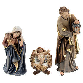 Hut in bark with set of 6 figurines in painted wood for Kostner Nativity Scene 9.5 cm s2