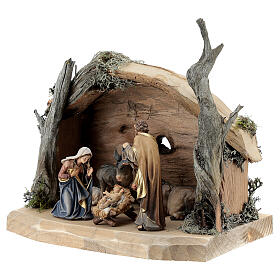 Hut in bark with set of 6 figurines in painted wood for Kostner Nativity Scene 9.5 cm s3