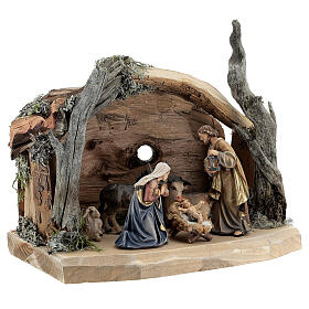Hut in bark with set of 6 figurines in painted wood for Kostner Nativity Scene 9.5 cm s4