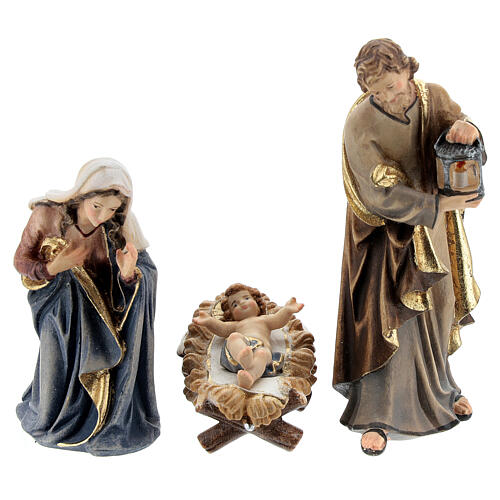 Hut in bark with set of 6 figurines in painted wood for Kostner Nativity Scene 9.5 cm 2