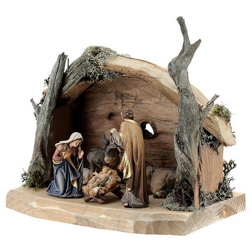 Hut in bark with set of 6 figurines in painted wood for Kostner Nativity Scene 9.5 cm 3