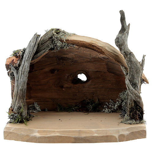 Hut in bark with set of 6 figurines in painted wood for Kostner Nativity Scene 9.5 cm 6