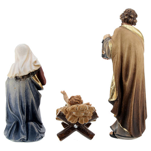 Hut in bark with set of 6 figurines in painted wood for Kostner Nativity Scene 9.5 cm 7