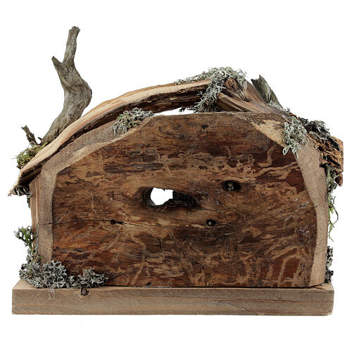 Hut in bark with set of 6 figurines in painted wood for Kostner Nativity Scene 9.5 cm 8