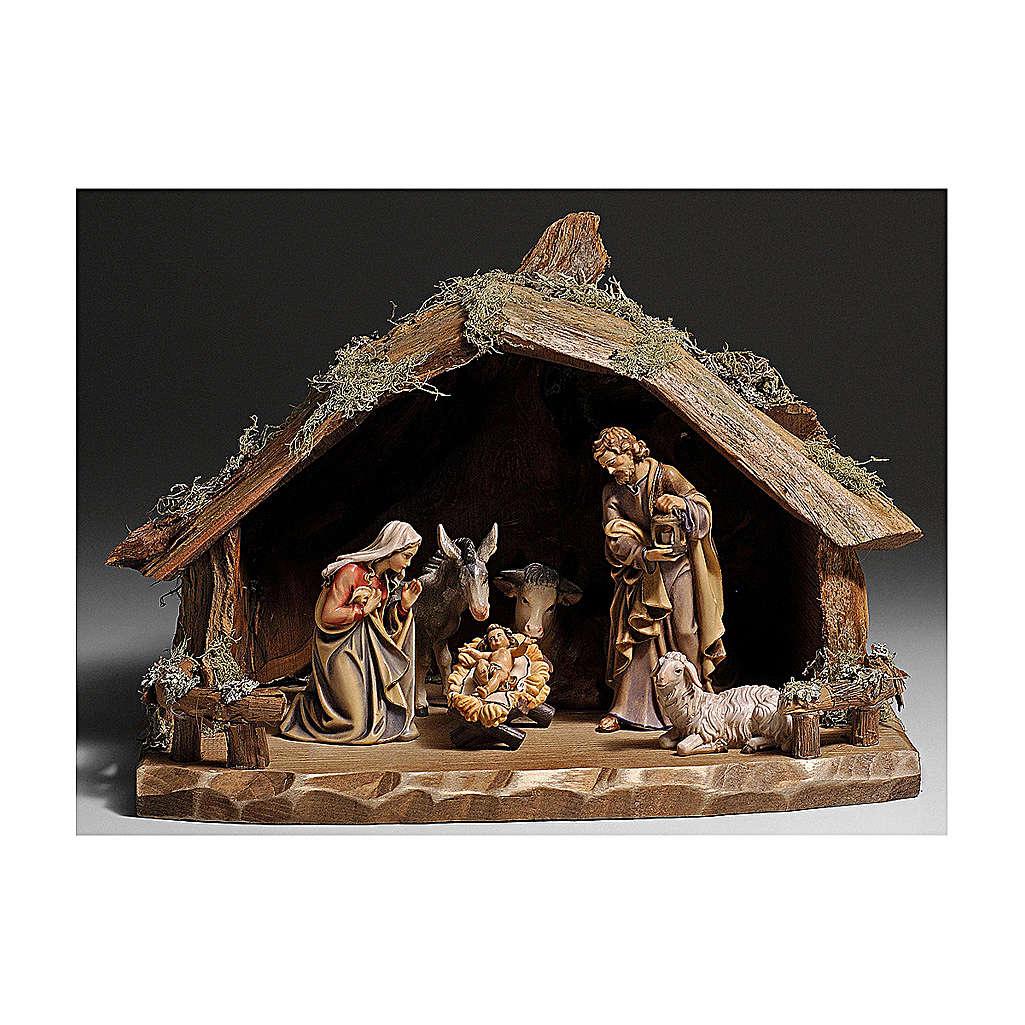 Cabane en écorce avec set 6 pcs bois peint crèche Kostner 9,5 cm 4
