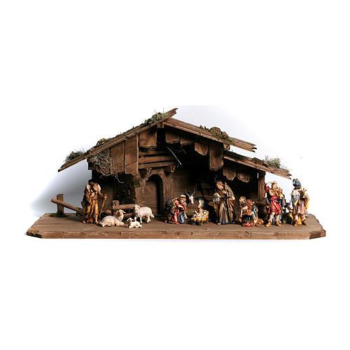 Cabane Sainte Nuit avec set 14 pcs bois peint crèche Rainell 9 cm 1