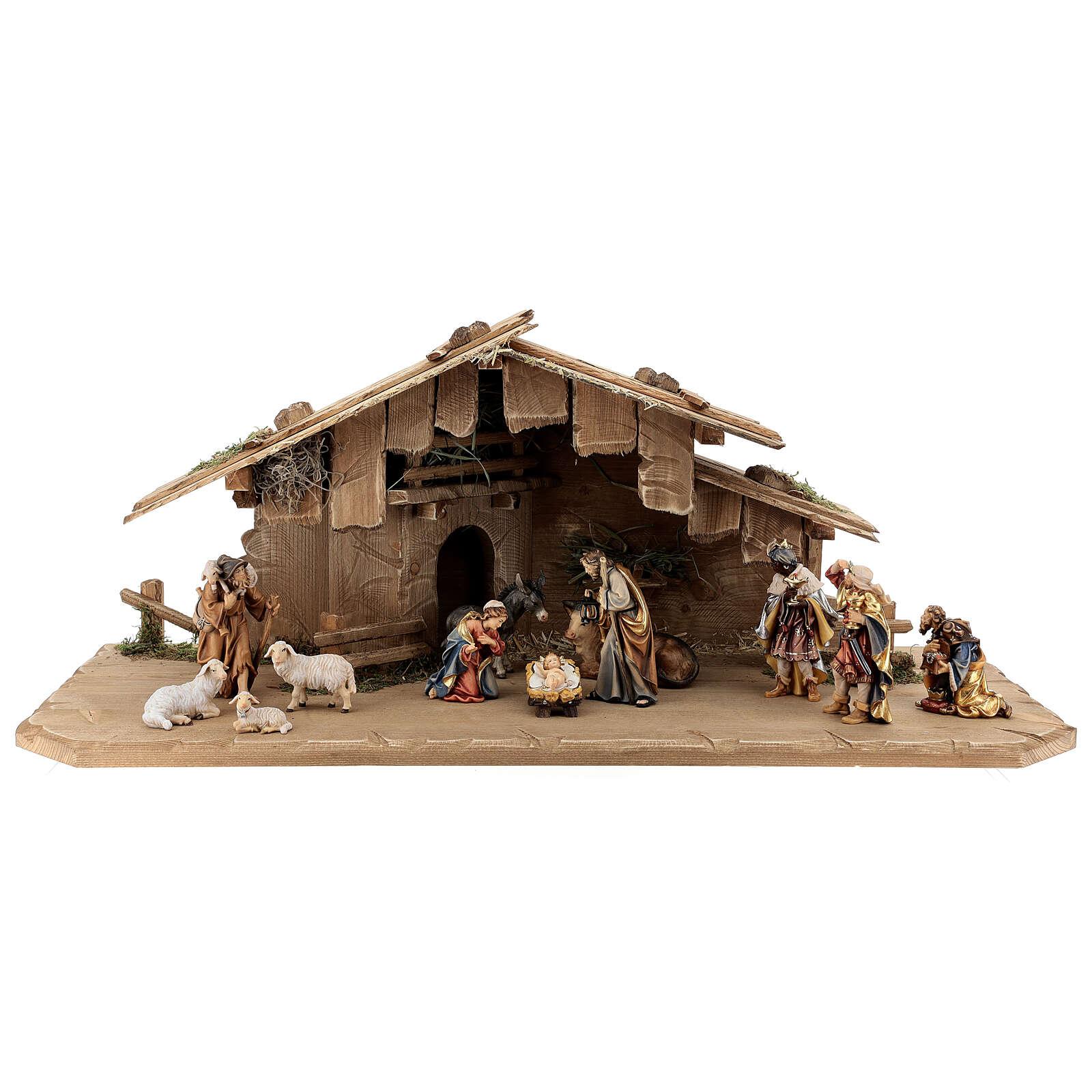 Cabane Sainte Nuit et set 12 pcs bois peint crèche Rainell 11 cm 4