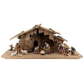 Cabane Sainte Nuit et set 12 pcs bois peint crèche Rainell 11 cm s1